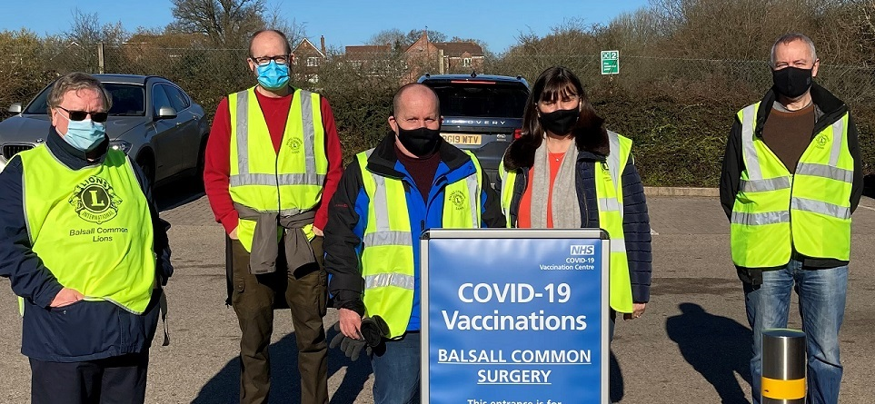 Balsall Common Lions (UK) help out at their local COVID-19 vaccination site.