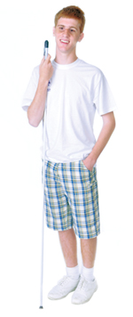 Teenage boy standing with white cane